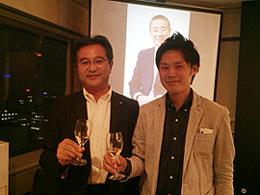 北海道ワイン(株)の蔦村社長と乾杯